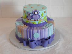 Purple and Teal Owl Baby Shower Cake