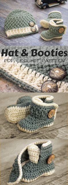 Adorable crochet pattern set for baby hat and booties. I love the cute button closure for the booties! Also, they look really practical, like they would open right up and be easy to put on! Looks like a simple, easy crochet pattern evven a beginner could handle! #etsy #ad #baby #crochet #pattern #instant #download #pdf