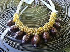 Snakehead Cowry and yellow Mongo shell necklace by hulamelani
