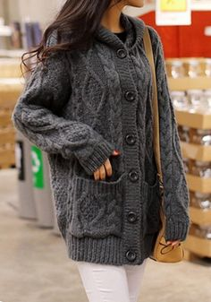 Ovesized Dark Grey Cardigan - Button Closure At Front Winter Outfits, Casual Outfits, Cute Outfits, Fashion Outfits, Fashion 2017, Grey Cardigan, Knit Cardigan, Sweater Weather, Autumn Winter Fashion