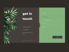Contact Us Daily UI Challenge - Contact Us Daily UI Challange contacts get in touch plant card website design ux dribbble dailyui c - Contact Us Page Design, Login Page Design, Web Ui Design, Form Design, Contact Page, Design Design, Web Layout, Website Layout, Layout Design