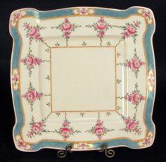 Antique Minton Bone China Turquoise Pink Rose Square Cake Tray Plate | eBay