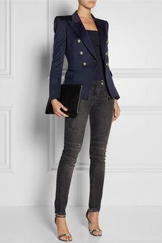 Balmain blazer and jeans, Neil Barret top, Alexander McQueen shoes, Jil Sander bag