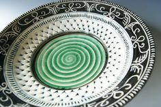 Pottery Serving Platter / Hostess Platter / Handmade Wheel-Thrown Ceramic Stoneware / Green, Black, and White Platter by RiverStone Pottery. $78.00, via Etsy.