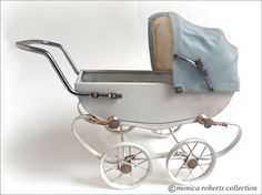 """vintage miniature landau doll pram (10.5""""long with handle by 9""""high), manufactured by the French firm 'RED' ... ca. 1950s"""