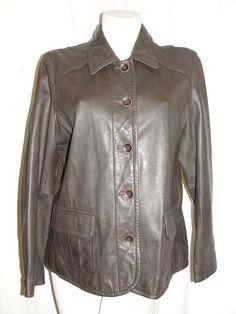 J. JILL Womens Jacket Dark Brown Buttery Soft Genuine Leather Lined Coat Size L #JJill #BasicJacket #CasualBusiness
