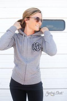 Monogrammed woman's hoodie. Light weight zip up sweatshirt with monogram. Bridesmaid gift. Birthday present. Embroidered initial clothes. by GentrysCloset on Etsy https://www.etsy.com/listing/243876580/monogrammed-womans-hoodie-light-weight