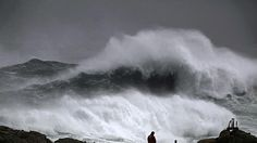 Great sea storm in Galicia, Spain.