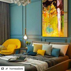 Déco Salon – chambre-bleu-canard-jaune-moutarde-fauteuil-velours ...