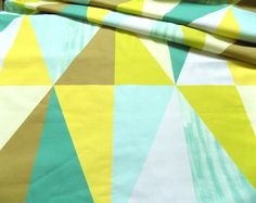 Printed cotton fabric - This fabric is for those who love contemporary geometrical patterns . Giant triangles in very trendy color palette . This fabric is designed by Alchemy&Fabric .Triangles are very large , one row of triangles is high Triangle Print, Curtain Fabric, Trendy Colors, Alchemy, Triangles, Printed Cotton, Cotton Fabric, Quilts, Pattern