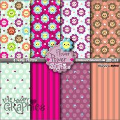 Flower Digital Paper, COMMERCIAL USE, Flower Pattern, Printable Paper, Floral Pattern, Floral Digital Paper, Flower Party, Spring Paper, DIY