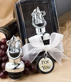 Fleur de lis Wine Stopper and Pourer from Wedding Favors Unlimited