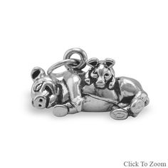 Pig with Piglet Sterling Silver Charm
