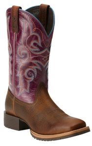Ariat Women's Hybrid Rancher Brown Oiled Rowdy with Fig Top Square Toe Western Boots   Cavender's