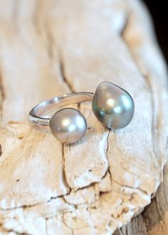 Designs by Alina perfect duo ring- Tahitian pearls, 14K white gold