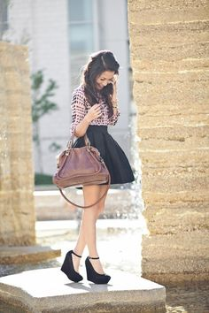 Pink silk blouse + black flare skirt and adorable ankle strap wedges.  Great spring outfit!