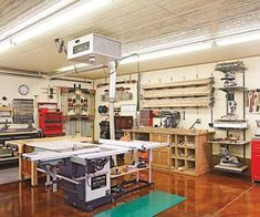 When Iowa woodworker Rod Cox added a workshop to the back of his cramped two-car garage (his old workshop), he had one thing in mind—elbow room.