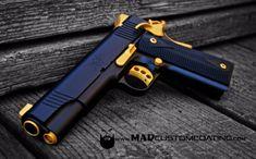 MAD Black and Cerakote Gold on a Kimber 1911 Ninja Weapons, Weapons Guns, Guns And Ammo, Armas Airsoft, Kimber 1911, Colt 1911, Custom Guns, Custom 1911 Pistol, Military Guns