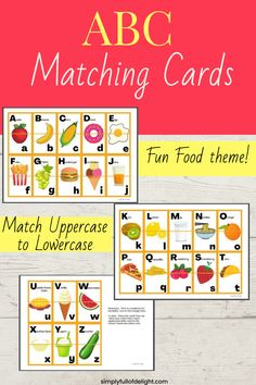Teaching your child the alphabet? These ABC Matching cards make learning fun! Each card has the lower case and upper case letter on it, along with a picture of a food that starts with that letter! Simply print, cut, and let your child match the cards together! #teachingalphabet #abcs Abc Preschool, Preschool Learning Activities, Fun Learning, Alphabet Games, Teaching The Alphabet, Help Teaching, Teaching Reading, Matching Cards, Uppercase And Lowercase