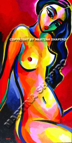 Dreamy Nude on Red, original acrylic painting by artist Martina Shapiro, abstract female nude