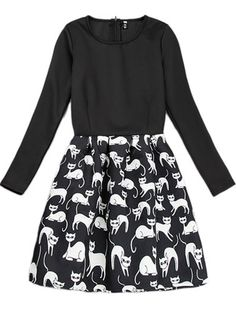 Shop Black Long Sleeve Cats Print Flare Dress online. Sheinside offers Black Long Sleeve Cats Print Flare Dress & more to fit your fashionable needs. Free Shipping Worldwide!