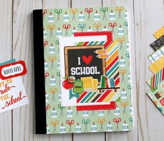 """""""Back to School"""" composition notebook by Anya Lunchenko for """"Back to School"""" card by Anya Lunchenko for School Scrapbook, Scrapbook Albums, Scrapbooking Layouts, Scrapbook Paper, Fall Projects, School Projects, Paper Crafts For Kids, Paper Crafting, Echo Park Paper"""