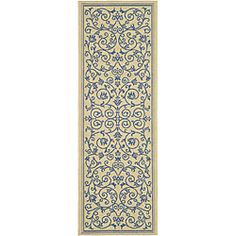 Indoor/ Outdoor Resorts Natural/ Blue Runner (2'4 x 6'7) | Overstock.com Shopping - Great Deals on Safavieh Runner Rugs