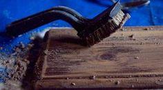 diy: weathered look to new wood using baking soda.