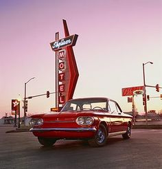 Chevrolet: A Chevrolet Corvair outside the Skyliner Motel