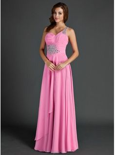 A-Line/Princess One-Shoulder Floor-Length Chiffon Holiday Dress With Ruffle Beading (020015525) - JJsHouse