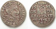 1595 Riga RIGA 3 Groschen (Trojak) 1595 GE SIGISMUND III of POLAND silver VF+ # 95138 VF+