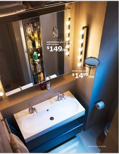 Grat idea for bathroom remodel...with storage at the top...