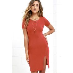 Flatter Me Rust Red Bodycon Dress ($34) ❤ liked on Polyvore featuring dresses, red, red dress, bodycon dress, slit dress, short-sleeve dresses and rust dress