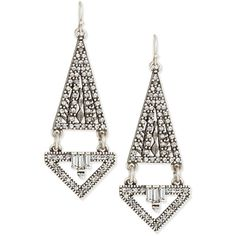 Lulu Frost Lucent Triangular Double-Drop Earrings (£115) ❤ liked on Polyvore featuring jewelry, earrings, silver, lulu frost, lulu frost earrings, lulu frost jewelry, triangle jewelry and drop earrings