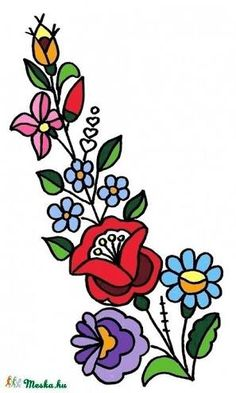 Hungarian Embroidery, Folk Embroidery, Learn Embroidery, Hungarian Tattoo, Chain Stitch Embroidery, Embroidery Stitches, Embroidery Patterns, Folk Art Flowers, Flower Art