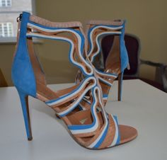 daea72ad0 PETER PILOTTO BLUE BLUSH STILETTO SANDALS NEW 41 8 SUEDE SNAKE ANKLE BOOTS  ZIP