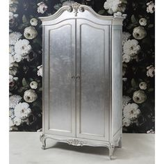 Alexandria French 2 Door Armoire featuring polyvore, home, furniture, storage & shelves, armoires, mahogany furniture, silver leaf furniture and floral furniture
