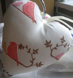 Quirky Bird Fabric Hanging Heart by HeartsandSew on Etsy, £4.50