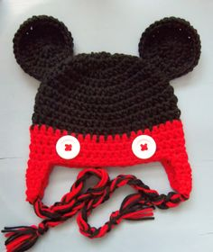 Baby Boy Crochet Mickey Mouse Beanie Hat SIZE 12 by wadamska, $20.00