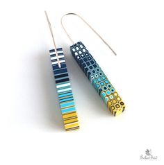 Yellow and blue earrings  turquoise  navy blue  por SolarBird, $25.00