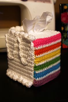 Rainbow cake...tissue box cover...does not compute.