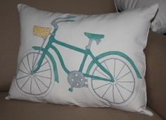 Boys Beach Bike  Hand Painted Pillow  Custom Orders Available