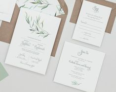 Modern Greenery Wedding Invitations Set ,Eucalyptus Greenery Invitations,  Greenery Winter Wedding Invites,eucalyptus Greenery Spring Wedding