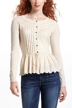 Weird combination of fabric an knits. I like it. Drawn Pleats Cardigan | Anthropologie.eu