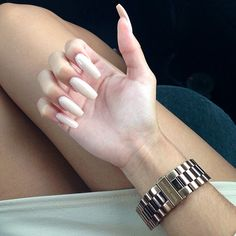 Long Nails / Coffin Nails. Sexy & Elegant ❤ #nail #ivory #nude #beige