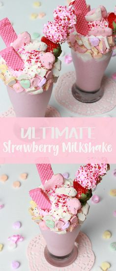 What do you get when you add strawberry ice cream, milk, and an excessive amount of treats to your glass? An Ultimate Strawberry Milkshake of course!