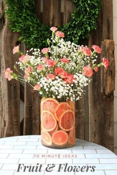 Wedding Flower Arrangements Quick tips for floral arrangements - DIY Fruit Floral Arrangement ideas that you can create in 10 minutes or less. Add a fresh bunch of flowers to your home decor. Fruit Flowers, Summer Flowers, Diy Flowers, Flowers Vase, Flowers Decoration, Centerpiece Flowers, Centerpiece Ideas, Floral Decorations, Table Flowers