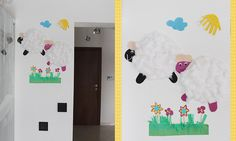 Spring crafts with my kids. Paper sheep (see my Arts board), grass and flowers:) . It just brightened up our kitchen:)| clou