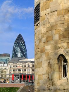 London Landmarks by ElectricSprout, via Flickr, The Gherkin and The Tower of London almost a thousand years apart!