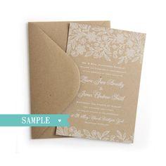 Alles, was Ihre Hochzeitsgäste aus dem Wort mit dieser schönen Spitzen-print Hochzeitseinladung gehen zu beeindrucken. Gedruckt auf 100 %